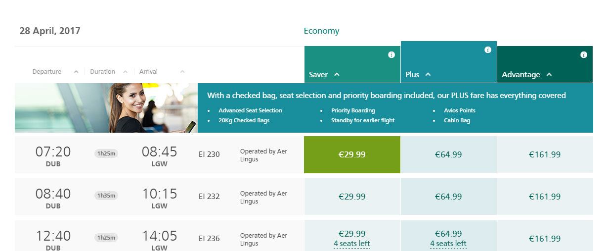 Aer Lingus upgrade options