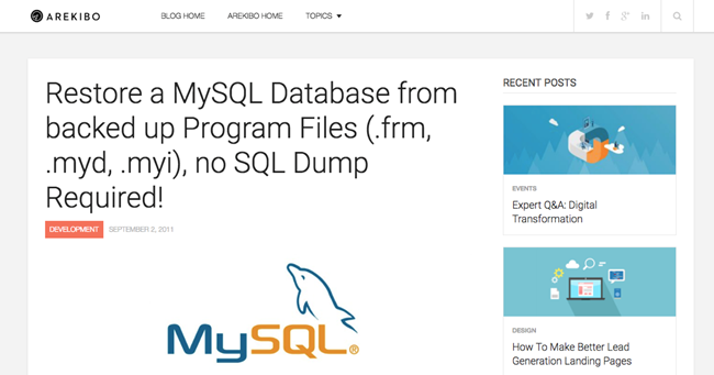 "Screenshot of blog post article on https://blog.arekibo.com, entitled ""Restore a MySQL Database from backed up Program Files (.frm, .myd, .myi), no SQL Dump Required!""]"